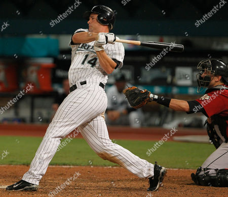 Gaby Sanchez Florida Marlins' Gaby Sanchez, left, follows through after hitting a double that scored teammates Hanley Ramirez and Logan Morrison during the seventh inning of a baseball game against the Houston Astros, in Miami. The Marlins defeated the Astros 6-3
