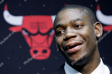 Stock Image of Ronnie Brewer Chicago Bulls new guard Ronnie Brewer speaks during a news conference in Chicago. Brewer joins former Utah teammates Carlos Boozer and Kyle Korver in Chicago