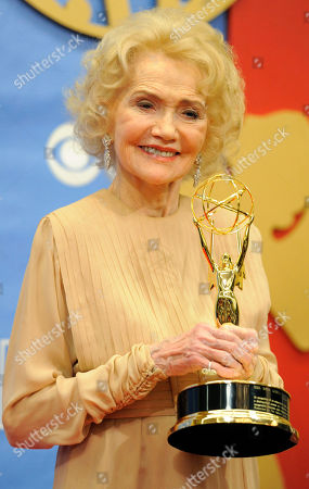 Stock Picture of Agnes Nixon Veteran actress Agnes Nixon poses with her Lifetime Achievement Award backstage at the Annual Daytime Emmy Awards in Las Vegas