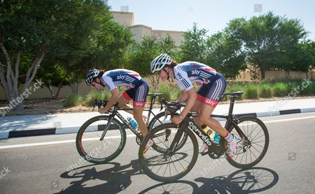 Great Britain's Dani King (L) and Annasley Park (R) pictured during a training ride.