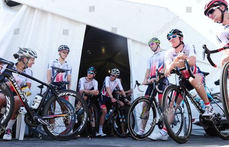 Stock Image of Great Britain team pictured before a practice ride, from left, Lizzie Deignan, Dani King, Ben Swift, Luke Rowe, Dan McLay, Geraint Thomas and Scott Thwaites.