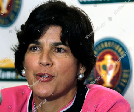 Stock Photo of Gigi Fernandez Tennis player Gigi Fernandez of Puerto Rico speaks during a news conference prior to being Inducted with doubles partner Natasha Zvereva into the International Tennis Hall of Fame in Newport, R.I