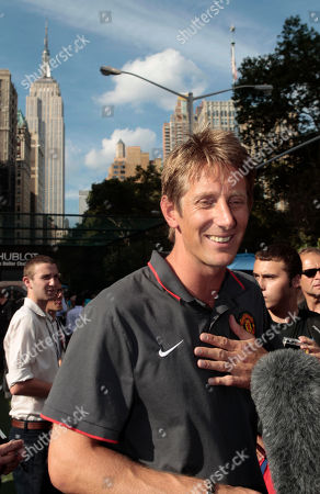 Stock Image of Edwin Van de Sar Edwin Van de Sar, of the Manchester United soccer team, responds to questions during a news interview, in New York