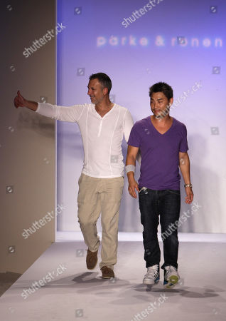 Ronen Jehezkel, Parke Lutter Designers Ronen Jehezkel, left, and Parke Lutter, right, walk the runway at the Mercedes-Benz Fashion Week Swim in Miami Beach, Fla