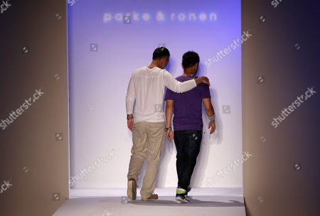 Ronen Jehezkel, Parke Lutter Designers Ronen Jehezkel, left, and Parke Lutter, right, leave the runway at the Mercedes-Benz Fashion Week Swim 2011 in Miami Beach, Fla