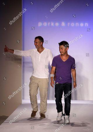 Stock Image of Ronen Jehezkel, Parke Lutter Designers Ronen Jehezkel, left, and Parke Lutter, right, walk the runway at the Mercedes-Benz Fashion Week Swim 2011 in Miami Beach, Fla