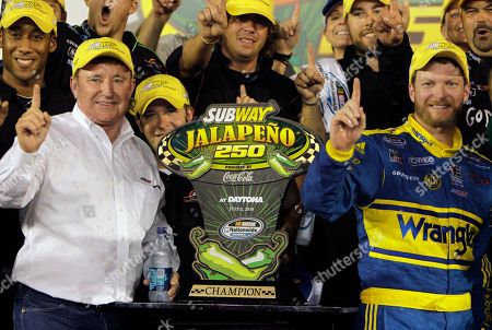 Dale Earnhardt Jr., Richard Childress Car owner Richard Childress, left, and NASCAR driver Dale Earnhardt Jr. celebrate in victory lane after winning the Subway Jalapeno 250 auto race at Daytona International Speedway in Daytona Beach, Fla