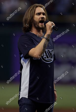 Bo bice Bo Bice sings the National Anthem before a San Diego Padres and the Tampa Bay Rays baseball game, in St. Petersburg, Fla
