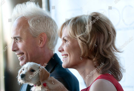 """Stock Image of John Heilman West Hollywood Mayor John Heilman, left, poses for photographers outside the """"Patterns for Paws"""" charity dog fashion show, benefitting The Amanda Foundation, at the Pacific Design Center in West Hollywood, Calif. on"""
