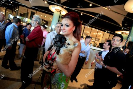 """Maria Kanellis WWE wrestler and singer Maria Kanellis from the television show, Celebrity Apprentice, mingles in the crowd prior to taking part in the """"Patterns for Paws"""" charity dog fashion show, benefitting The Amanda Foundation, at the Pacific Design Center in the West Hollywood, Calif. on"""