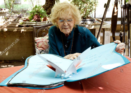 """Gloria Stuart Actress Gloria Stuart reads from her new book """"Flight of Butterfly"""" in Los Angeles, . Stuart celebrated her 100th birthday on July 4, 2010"""