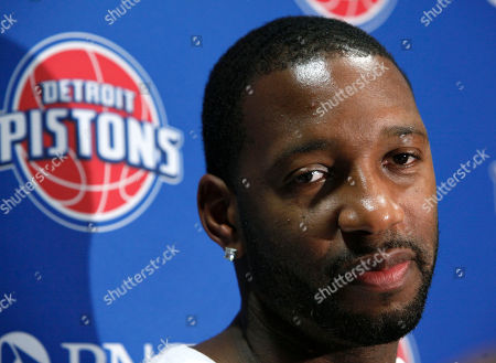 Tracy McGrady Detroit Pistons guard Tracy McGrady listens to a question during a news conference in Auburn Hills, Mich