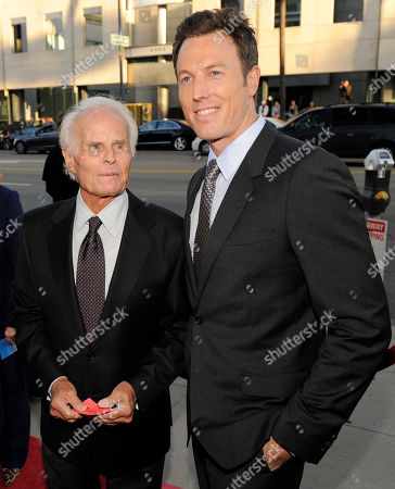 "Stock Photo of Dean Zanuck, Richard Zanuck Dean Zanuck, right, producer of the film ""Get Low,"" poses with his father, veteran film producer Richard Zanuck, at the premiere of the film in Beverly Hills, Calif"