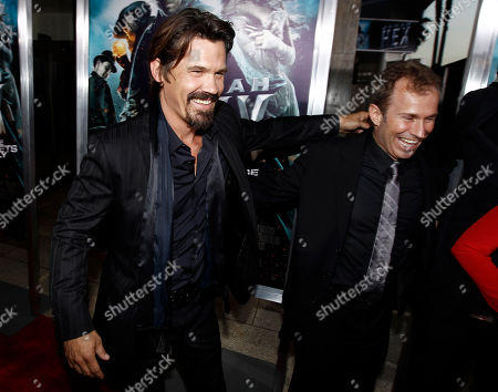 """Josh Brolin, Andrew Lazar Cast member Josh Brolin, left, and producer Andrew Lazar laugh together at premiere of """"Jonah Hex"""" in Los Angeles on"""