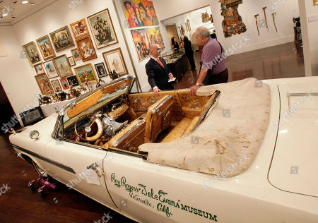The 1963 Pontiac Bonneville parade car of movie cowboy Roy Rogers is displayed at Christies auction house in New York, . An upcoming Manhattan auction will feature the belongings of Rogers and his wife Dale Evans- including the preserved remains of his faithful companion, Trigger