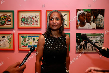 Elisabeth Preval Haiti's first lady Elisabeth Preval is interviewed during a visit to the Smithsonian's Ripley Center where a display of paintings and drawings made by Haiti's children after the earthquake is being exhibited, in Washington, on