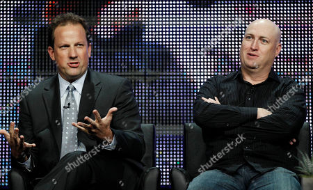 """Ted Griffin, Shawn Ryan Creator and executive producer Ted Griffin, left, and executive producer Shawn Ryan, from """"Terriers"""", participate in a panel discussion at the F/X Television Critics Association summer press tour in Beverly Hills, Calif"""