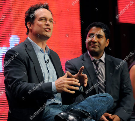 """Diedrich Bader, Parvesh Cheena Diedrich Bader, left, a cast member in """"Outsourced,"""" takes part in a panel discussion with fellow cast member Parvesh Cheena during the NBC Universal Television Critics Association summer press tour in Beverly Hills, Calif., in Los Angeles"""