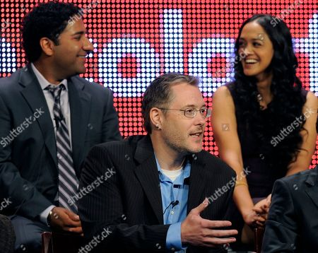 """Robert Borden, Parvesh Cheena, Anisha Nagarajan Robert Borden, center, executive producer of """"Outsourced,"""" takes part in a panel discussion on the show with cast members Parvesh Cheena, top left, and Anisha Nagarajan during the NBC Universal Television Critics Association summer press tour in Beverly Hills, Calif., in Los Angeles"""