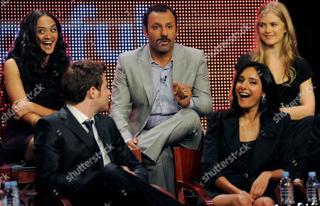 "Pippa Black, Rebecca Hazlewood, Ben Rappaport, Anisha Nagarajan, Rizwan Manji Rizwan Manji, top center, a cast member in ""Outsourced,"" makes a joke as he participates in a panel discussion on the show during the NBC Universal Television Critics Association summer press tour in Beverly Hills, Calif., in Los Angeles. Clockwise from top right are fellow cast members Pippa Black, Rebecca Hazlewood, Ben Rappaport and Anisha Nagarajan"