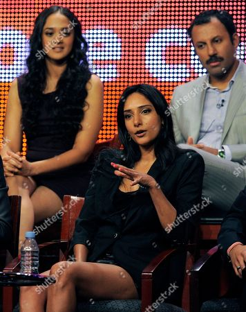 "Rebecca Hazlewood, Anisha Nagarajan, Rizwan Manji Rebecca Hazlewood, bottom, a cast member in ""Outsourced,"" participates in a panel discussion with fellow cast members Anisha Nagarajan, left, and Rizwan Manji during the NBC Universal Television Critics Association summer press tour in Beverly Hills, Calif., in Los Angeles"