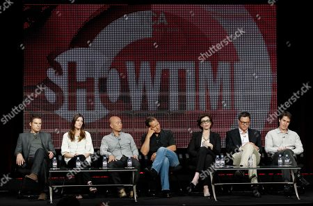 "Michael C. Hall, Jennifer Carpenter, C.S. Lee, James Remar, Sara Colleton, John Goldwyn, Chip Johannessen Cast and crew, from left, Michael C. Hall, Jennifer Carpenter, C.S. Lee, James Remar, Sara Colleton, John Goldwyn, and Chip Johannessen, from ""Dexter"", participate in a panel discussion at the CBS, Showtime and The CW Television Critics Association summer press tour in Beverly Hills, Calif"