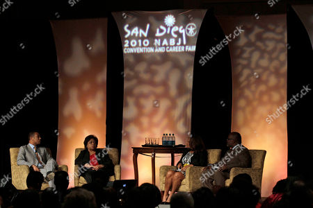 Stock Photo of Shirley Sherrod Ousted Department of Agriculture employee Shirley Sherrod, second from left, speaks during a panel discussion at the National Association of Black Journalists Annual Convention in San Diego. Sherrod said Thursday she will sue a conservative blogger who posted an edited video of her making racially tinged remarks last week. With Sherrod on the panel are, from left, Don Lemon of CNN, Mara Schiavocampo of NBC, and Eric Deggans of the St. Petersburg Times