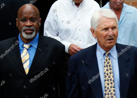 UCLA assistant basketball coach Donny Daniels, left, and Lute Olson arrive for a memorial service for late UCLA basketball coach John Wooden, at Pauley Pavilion on the campus in Los Angeles