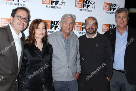 Stock Image of Michael Barker, Co-founder/Co-President of Sony Pictures Classics, Isabelle Huppert, Paul Verhoven, David Birke, screenwriter and Tom Bernard, Sony Pictures Classics co-president