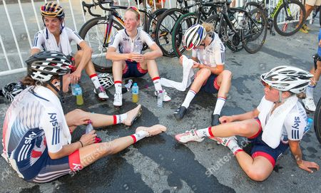 Stock Picture of Great Britain's Dani King, Lizzie Deignan (nee Armitstead), Alice Barnes, Hannah Barnes and Abby-Mae Parkinson after the Elite Women's Road Race.
