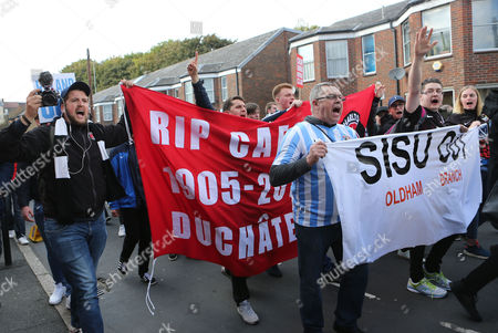 Coventry fans' groups have come together under the name of 'Fighting the Jimmy Hill Way' unite with Charlton fans under the banner of 'Coalition against Roland Duchatelet' to protest against their respective owners in a joint supporters march to 'The Valley' during Charlton Athletic vs Coventry City, Sky Bet EFL League 1 Football at The Valley on 15th October 2016