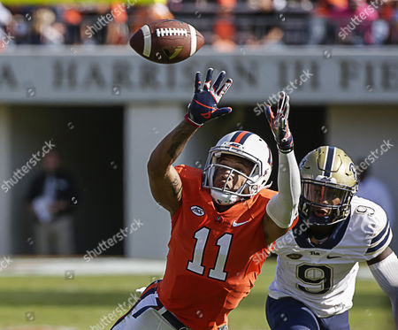 University of Virginia Cavalier WR #11 David Eldridge can't quite reach a high pass during a NCAA football game between the UVA Cavaliers and the Pitt Panthers at Scott Stadium in Charlottesville, Virginia. Pitt beats UVA with a score of 45-31