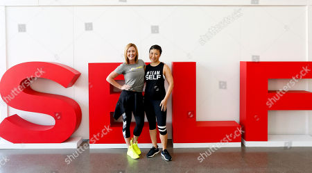 Stock Picture of Lindsey Clayton; Joyce Chang Celebrity trainer Lindsey Clayton and Editor-In-Chief Joyce Chang are seen at SELF UpNOut Studio at Spring Studios on in New York