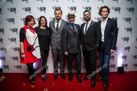 Clare Stewart, Courteney Monroe, Leonardo DiCaprio, director Fisher Stevens, Tim Pastore and Jan Koeppen