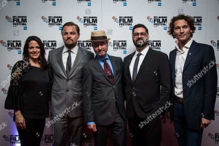 Courteney Monroe, Leonardo DiCaprio, director Fisher Stevens, Tim Pastore and Jan Koeppen
