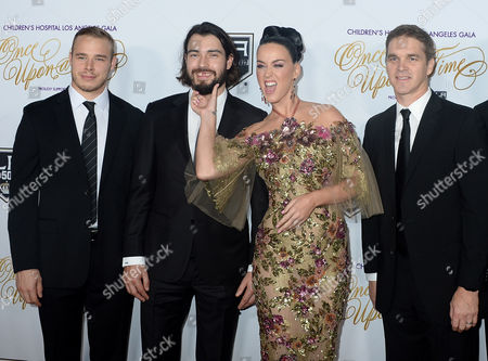 NHL player Dustin Brownm, Drew Doughty, Katy Perry and Luc Robitaille