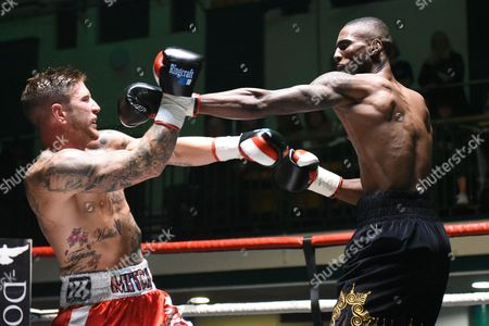 Marcus Williams (black shorts) defeats Mitch Mitchell during a Boxing Show at York Hall on 15th October 2016