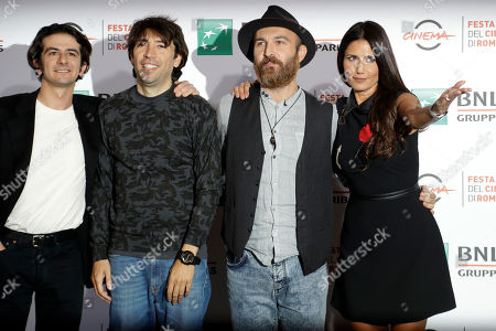 From left, Francesco Mandell, Herbert Ballerina, Maccio Capatonda and Barbara Tabita pose for photographers during a photocall presenting the movie ' Mariottide ' at the Rome Film festival in Rome