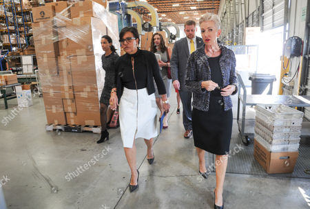 Stock Photo of Dermalogica Founder Jane Wurwand and US Secretary of Commerce Penny Pritzker Tour Dermalogica headquarters in Carson, California