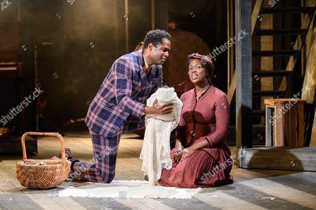 Stock Image of Ako Mitchell (Coalhouse), Jennifer Saayeng (Sarah)