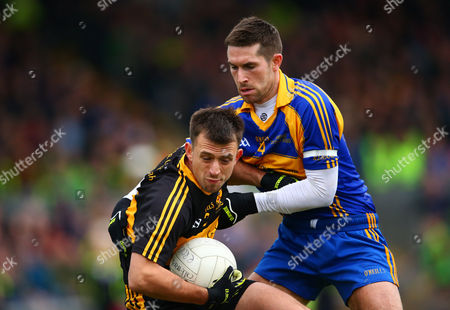 Dr. Crokes vs Kenmare District. Dr. Crokes' Michael Moloney is tackled by Paul O?Connor of Kenmare District
