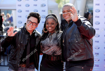 "Paige Miles, Andrew Garcia, Michael Lynche From left, Paige Miles, Andrew Garcia and Michael Lynche arrive at the ""American Idol"" finale, in Los Angeles"