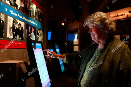 Linda Hope Linda Hope looks at an interactive of jokes in a new exhibit featuring her father, Bob Hope, at the Library of Congress, in Washington, on
