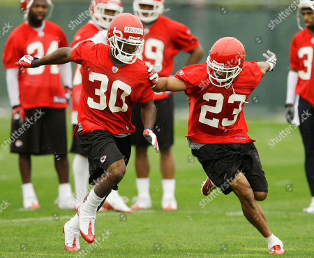 Mike Richardson, Javier Arenas Kansas City Chiefs cornerback Mike Richardson (23) and defensive back Javier Arenas (30) during a football mini camp at the team's practice facility, in Kansas City, Mo