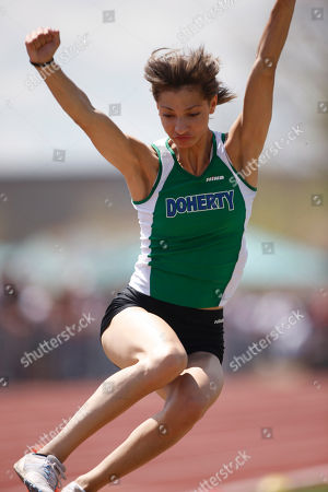 Jordan Rand Doherty's Jordan Rand competes in the long jump in Class 5A at the Colorado High School Track & Field Championships in Lakewood, Colo., on