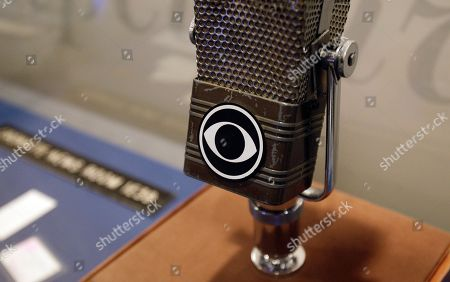 A vintage CBS microphone is seen at the Walter Cronkite exhibit at the LBJ Library, in Austin, Texas