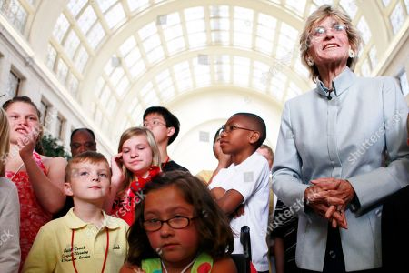 """Jean Kennedy Smith The International Organization on Arts and Disability founder Jean Kennedy Smith, right, stands with children artists at the opening of the """"State of the Art"""" exhibit, part of the International VSA Arts Festival, at Union Station in Washington, on"""