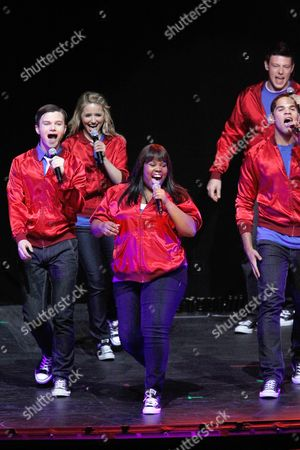"""Chris Colfer, Dianna Agron, Amber Riley, Dijon Talton, Cory Monteith From left to right, cast members Chris Colfer, Dianna Agron, Amber Riley, Cory Monteith, and Dijon Talton, of the television show """"Glee"""" perform during a concert to kickoff a national """"Glee"""" tour at the Dodge Theatre, in Phoenix"""