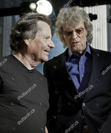 "Delbert McClinton, left, talks with Don Imus after he performed on the ""Imus in the Morning"" program on the Fox Business Network, in New York"