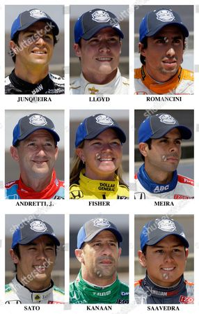 Bruno Junqueira, Alex Lloyd, Mario Romancini, John Andretti, Sarah Fisher, Vitor Meira, Takuma Sato, Tony Kanaan, Sebastian Saavedra The drivers in the starting field for the 2010 Indianapolis 500 auto race are shown after they qualified May 22 and 23, 2010, at Indianapolis Motor Speedway in Indianapolis, . Row nine: Bruno Junqueira, of Brazil; Alex Lloyd, of England; Mario Romancini, of Brazil. Row 10: John Andretti; Sarah Fisher; Vitor Meira, of Brazil. Row 11: Takuma Sato, of Japan; Tony Kanaan, of Brazil; Sebastian Saavedra, of Colombia